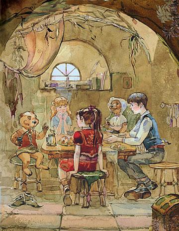 纳尼亚传奇插图:在河狸家共进晚餐