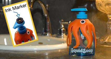 章鱼墨水印洗手液瓶