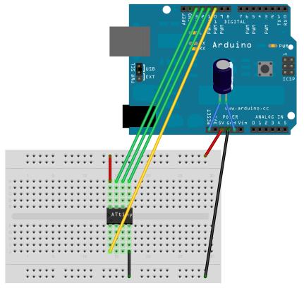 Arduino与ATtiny45/48连线图
